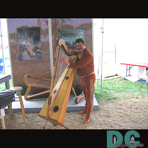 Musician striking a pose with his percussive harp.