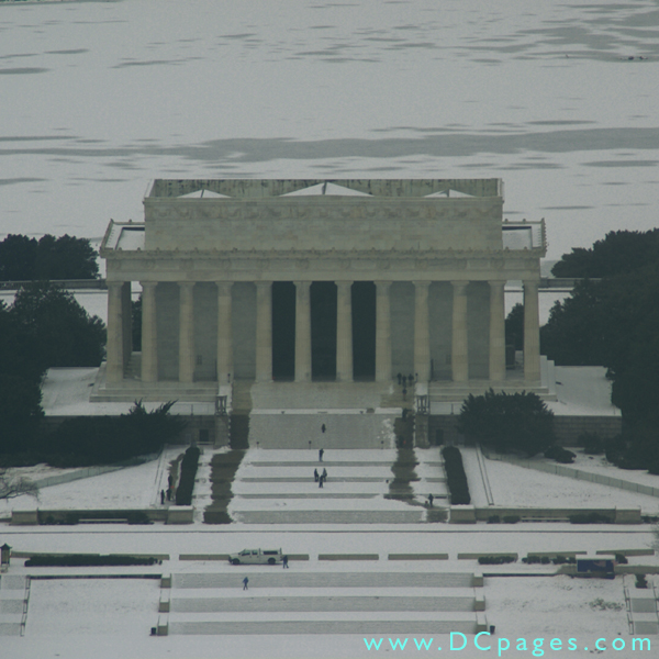 West view of the Lincoln Memorial taken from observation floor of the Washington Monument.