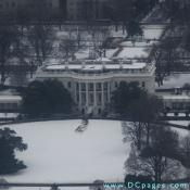 View of the South Portico of the White House Building taken from observation floor of the Washington Monument.