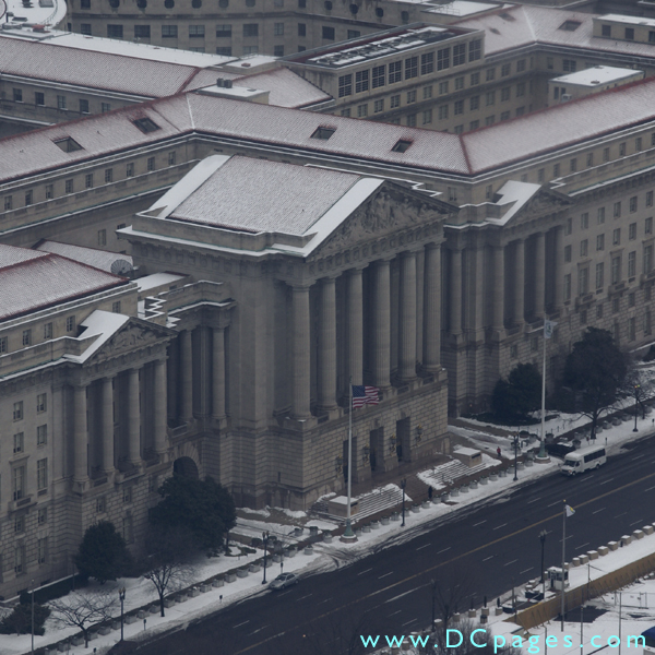 View of Mellon Auditorium taken from the observation floor of the Washington Monument.