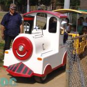 Children have fun taking a mini-train ride.