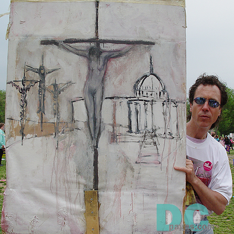 Male Pro-Choice artist displays his artwork depicting a female crucified in front of our Nation's Capitol building.
