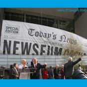Giant Newseum Banner is Raised
