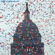 US Capitol Dome covered in Red, White and Blue Confetti
