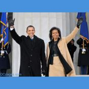 President-elect Barack Obama and Michelle Obama wave to the crowd