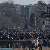 Inaugural crowd fenced in