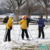 "Danali met some cross country skiers. ""Excuse me. Does any of you know where I can find a person name frosty? I am on special assignment from DCpages."" The skiers contemplated for a bit and agreed that the Washington Monument was the best place to go."
