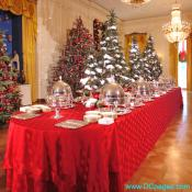 The State Dining Room tablecloths are red-on-red polka dots with a little forest of trees that run down the center of the tables