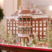 The gingerbread White House, a favorite among many, located in the State Dining Room