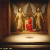 The Cryptic Room - Hiram Abif bows before two angels
