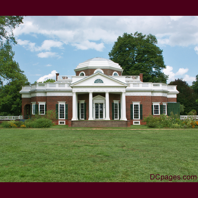 Straight On View Of The House Thomas Jefferson Built