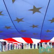 Smithsonian Kite Festival - Under Giant American Flag
