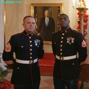 Two Marine Corps reservists in their Dress Blues at The White House