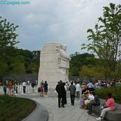 Visitors gather around the King Memorial in Washington, DC