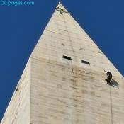 Structural engineer examining the Washington Monument