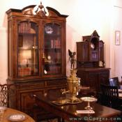 Onslow Square Antiques - Referred to as Palice furniture: A superb Northern Italian Burled Walnut Bookcase Ca: 1860. Exceptional quality.