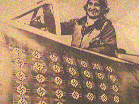 All of those Nazi Flags indicate how many planes this World War II ace shot down in combat.