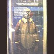 A WW II bomber suit with oxygen mask for high altitude bombing.