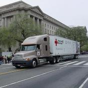 2003 Cherry Blossom Festival: the Red Cross ensures that nothing goes wrong.