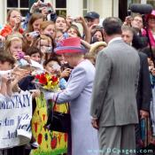Virginia State Capitol, Richmond, Virginia - Her Majesty Queen Elizabeth, II greeted by children with flowers.