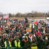 Thousands showed up to voice their opposition to the war in Iraq.