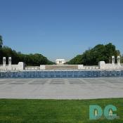 West to East View of the World War II Memorial. Lincoln Memorial in the background.