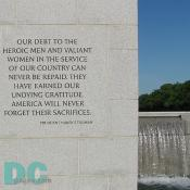 Dedication Stone - OUR DEBT TO THE HEROIC MEN AND VALIANT WOMEN IN THE SERVICE OF OUR COUNTRY CAN NEVER BE REPAID. THEY HAVE EARNED OUR UNDYING GRATITUDE AMERICA WILL NEVER FORGET THEIR SACRIFICES - President Harry S. Truman