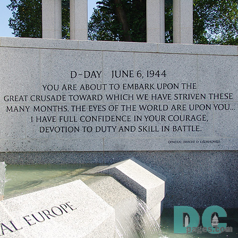 Dedication Stone - D-DAY JUNE 6, 1944 - YOU ARE ABOUT TO EMBARK UPON THE GREAT CRUSADE TOWARD WHICH WE HAVE STRIVEN MANY MONTHS. THE EYES OF THE WORLD ARE UPON YOU... I HAVE FULL CONFIDENCE IN YOUR COURAGE, DEVOTION TO DUTY AND SKILL IN BATTLE.