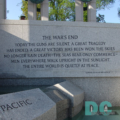 Dedication Stone - THE WARS END - TODAY THE GUNS ARE SILENT. A GREAT TRAGEDY HAS ENDED. A GREAT VICTORY HAS BEEN WON. THE SKIES NO LONGER RAIN DEATH - THE SEAS BEAR ONLY COMMERCE - MEN EVERYWHERE WALK UPRIGHT IN THE SUNLIGHT. THE ENTIRE WORLD IS QUIETLY AT PEACE. General Douglas MacArthur