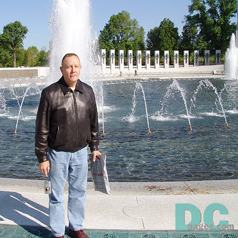 "John Gardner was the first public visitor to the World War II Memorial. ""The Memorial is truly a jewel in the Mall."""