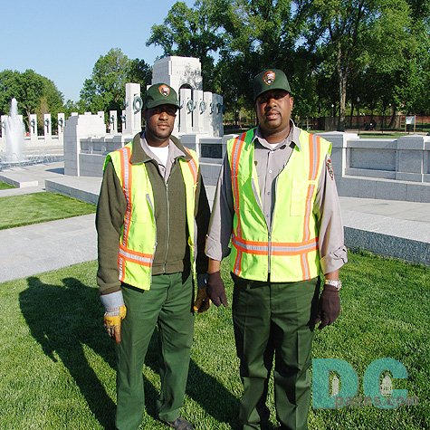 "Robert and Martin of the National Park Service, Department of Roads of Trials, Maintenance Division, are installing signs around the Memorial. ""The Memorial is a blessing that is long overdue."""