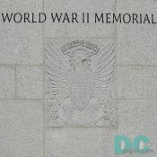 World War II Memorial dedication stone. E PLURIBUS UNUM - was chosen by the first Great Seal committee in 1776. The correct English translation is: Out of many, one. The message is carried by the American Eagle. Special thanks to Caroline Wolter and Peter Himler for making this gallery possible.