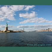 The Statue of Liberty is located on Liberty Island in New York harbor, about 1.6 miles (2.6 km) southwest of the southern tip of Manhattan.