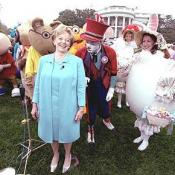 Accompanied by all sorts of story book characters, Lynne Cheney the host of the 2003 White House Easter Egg Roll