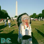 Senator Ben Nighthorse Campbell (R-Colorado), ra Northern Cheyenne Indian poses in front of the National Monument.