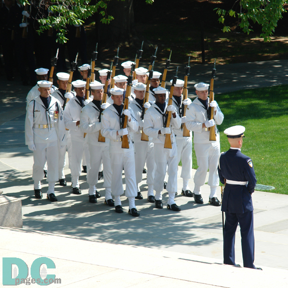 Navy Honor Guard marching to the Tomb of the Unknowns.