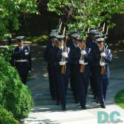 Honor Guard marching to the Tomb of the Unknowns.