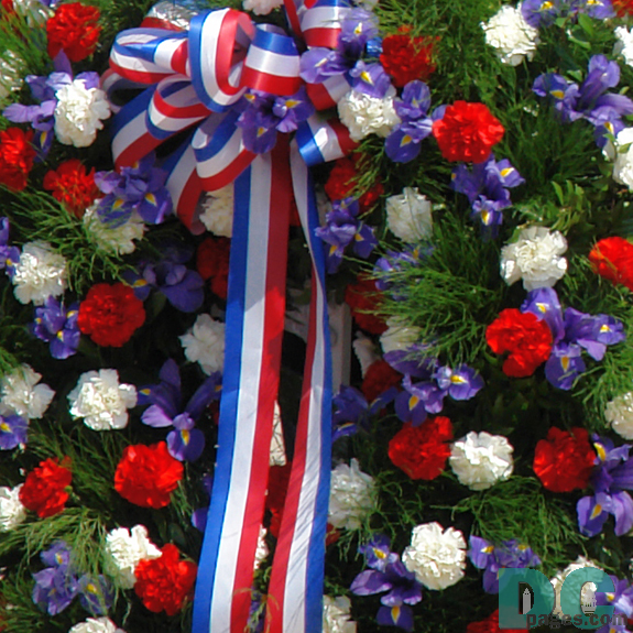A closeup of the Memorial Day wreath.