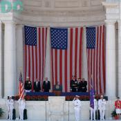 President George W. Bush, and Secretary of Defense Donald H. Rumsfeld addresses the audience during Memorial Day ceremonies at Arlington National Cemetery, May 29, 2006