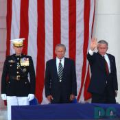 President George W. Bush waves to the audience gathered for Memorial Day ceremonies at Arlington National Cemetery