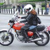 A female rider showing her support for the war vets.