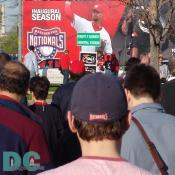 Washington Nationals' Inaugural Home Opener - A picture of pitcher Esteban Loaiza greets fans as they approach RFK stadium.