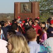 Washington Nationals' Inaugural Home Opener - Fans gather in front of a memorial dedicated to the late George Preston Marshall.
