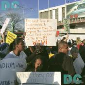 Washington Nationals' Inaugural Home Opener - Demonstrators protest the money spent by District Taxpayers to get the Washington Nationals.